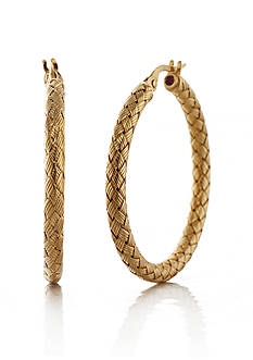 The Fifth Season by Roberto Coin 18k Yellow Gold Plated Sterling Silver Woven Hoop Earrings