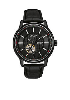 Bulova Black Dial Black Strap Watch