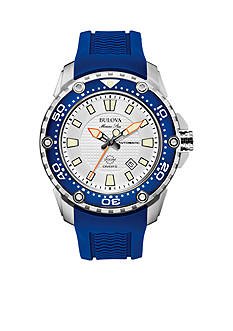 Bulova Men's White Dial Blue Strap Watch