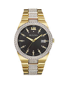 Bulova Black Dial Gold Bracelet Watch