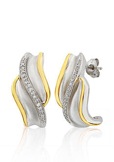 Belk & Co. Diamond Earrings in 10k Yellow Gold and Sterling Silver