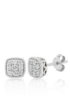 Belk & Co. Diamond Square Earrings in 10k White Gold