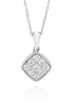 Belk & Co. Diamond Square Pendant in 10k White Gold