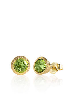 Piara by Elaine J® Sterling Silver 18k Yellow Gold Plated Peridot Earrings