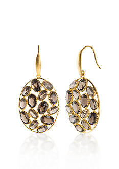 Piara by Elaine J® Sterling Silver 18k Yellow Gold Plated Smokey Quartz Earrings