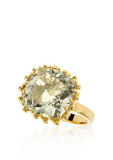 Piara by Elaine J&reg; Sterling Silver 18k Yellow Gold Plated Green Amethyst Ring<br>