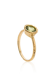 Piara by Elaine J® Sterling Silver 18k Yellow Gold Plated Peridot Ring
