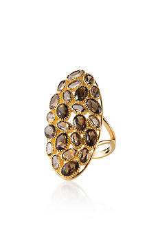Piara by Elaine J® Sterling Silver 18k Yellow Gold Plated Smokey Quartz Ring