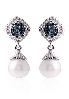Belk & Co. Sterling Silver Freshwater Pearl and Blue Diamond Earrings