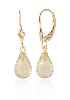 Belk & Co. Lemon Quartz Earrings in 14k Yellow Gold
