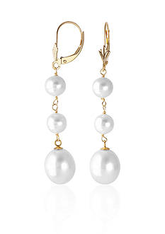 Belk & Co. Freshwater Pearl Dangle Drop Earrings in 14k Yellow Gold