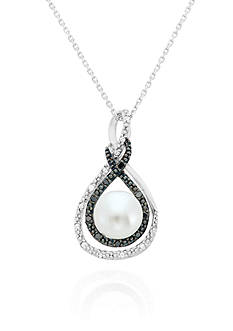 Belk & Co. Freshwater Pearl and Diamond Pendant in Sterling Silver