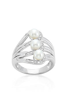 Belk & Co. Freshwater Pearl and Diamond Ring in Sterling Silver