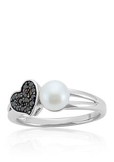 Belk & Co. Freshwater Pearl and Black Diamond Heart Ring in Sterling Silver
