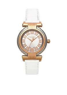Escada Lauren Collection Stainless Steel Ion Plated Rose Gold Leather Strap Watch