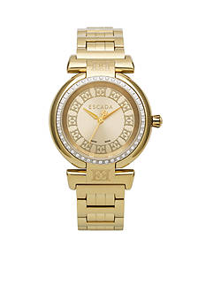 Escada Lauren Collection Ion Plated Gold and Diamond Bezel Watch