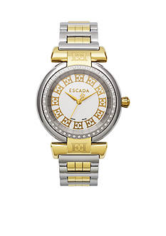 Escada Lauren Collection Stainless Steel Ion Plated Gold and White Diamond Bezel Watch