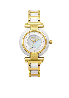 Escada Lauren Collection Ion Gold Plated White Ceramic Watch