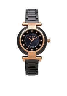 Escada Lauren Collection Black Ceramic Ion Plated Rose Gold Watch
