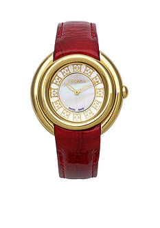 Escada Ivory Collection Ion Gold Plated Red Leather Strap Watch