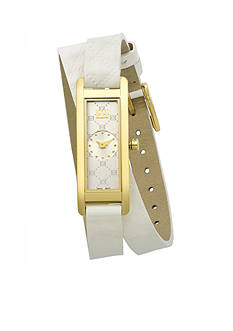 Escada Florence Collection Ion Plated White Leather Strap Watch