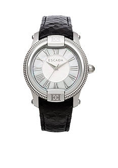 Escada Madelene Collection Stainless Steel Black Leather Strap Watch