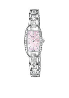 Pulsar Women's Silver-Tone Crystal Accent Mother of Pearl Dial Watch