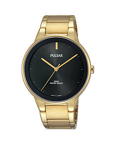 Pulsar Men's Modern Gold-Tone and Black Bezel Watch