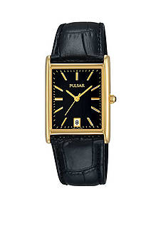 Pulsar Men's Gold-Tone Black Leather Watch