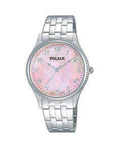 Pulsar Women's Silver-Tone Pink Mother of Pearl Dial Watch