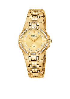 Pulsar Women's Gold-Tone Crystal Bezel Stainless Steel Dress Watch