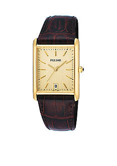 Pulsar Men's Gold-Tone Stainless Steel Brown Leather Strap Watch