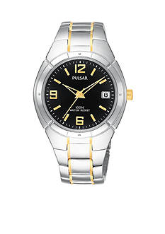Pulsar Men's 100 Meter Two Tone Black Dial Dress Watch