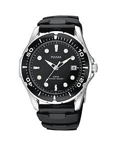 Pulsar Men's Black Urethane Strap Watch