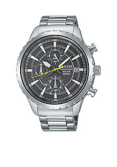 Pulsar Men's Solar Chronograph Silver-Tone with Gray Dial