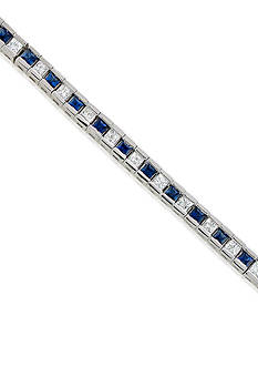 Belk & Co. 14k White Gold Sapphire and Diamond Tennis Bracelet