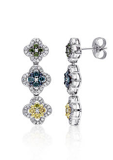 Belk & Co. Multi Color Diamond Earrings in Sterling Silver
