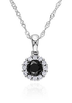 Belk & Co. Black and White Diamond Pendant in 14k White Gold