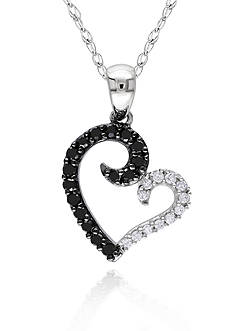 Belk & Co. Black and White Diamond Heart Pendant in 10k White Gold