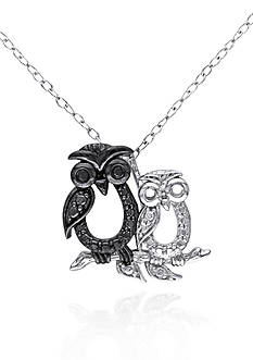 Belk & Co. Black Diamond Owl Pendant in Sterling Silver
