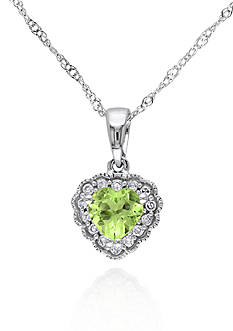 Belk & Co. 10k White Gold Peridot Heart Pendant
