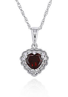 Belk & Co. 10k White Gold Garnet and Diamond Heart Pendant