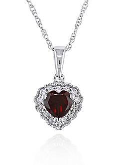 Belk & Co. 10k White Gold Garnet and Diamond Heart Pendant