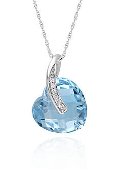 Belk & Co. 10k White Gold Blue Topaz Heart Pendant