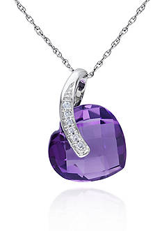 Belk & Co. 10k White Gold Amethyst Heart Pendant