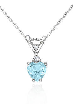 Belk & Co. 10k White Gold Aquamarine Heart Pendant