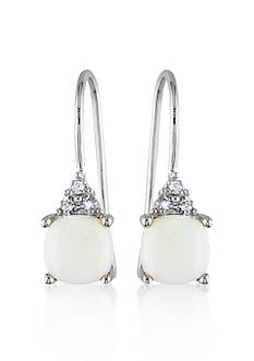Belk & Co. 10k White Gold Opal Square Earrings