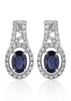 Belk & Co. 10k White Gold Sapphire and Diamond Earrings