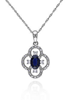 Belk & Co. 10k White Gold Sapphire and Diamond Pendant