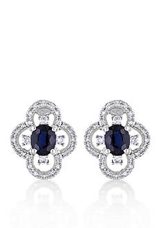 Belk & Co. 10k White Gold Sapphire and Diamond Stud Earrings